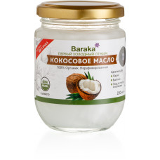 Кокосовое масло холодного отжима Baraka, 200 мл (стекло)