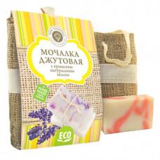 Джутовая мочалка + мыло Роза, 80 гр