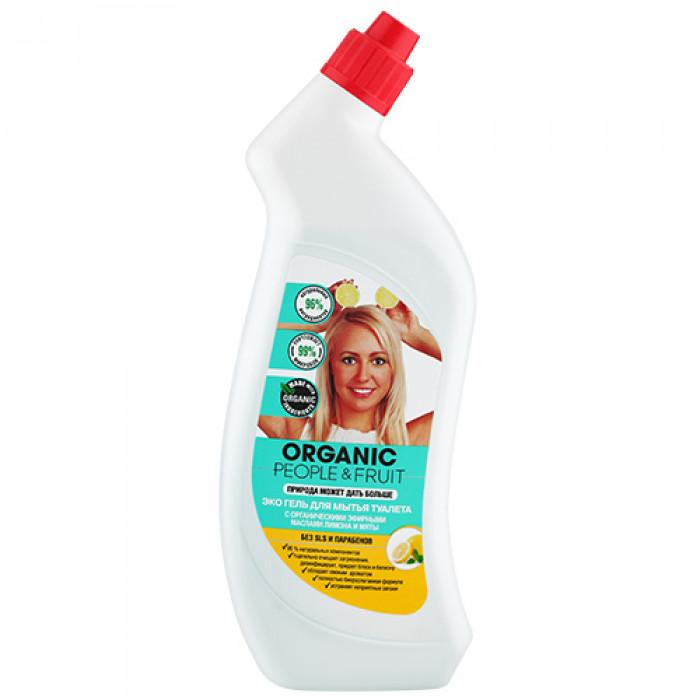 Гель-Эко для мытья туалета с органическими эфирными маслами лимона и мяты 750 мл