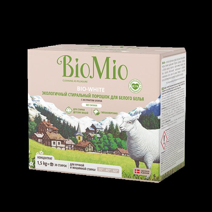 Экологичный стиральный порошок BioMio для белого белья с экстрактом хлопка, 1,5 кг