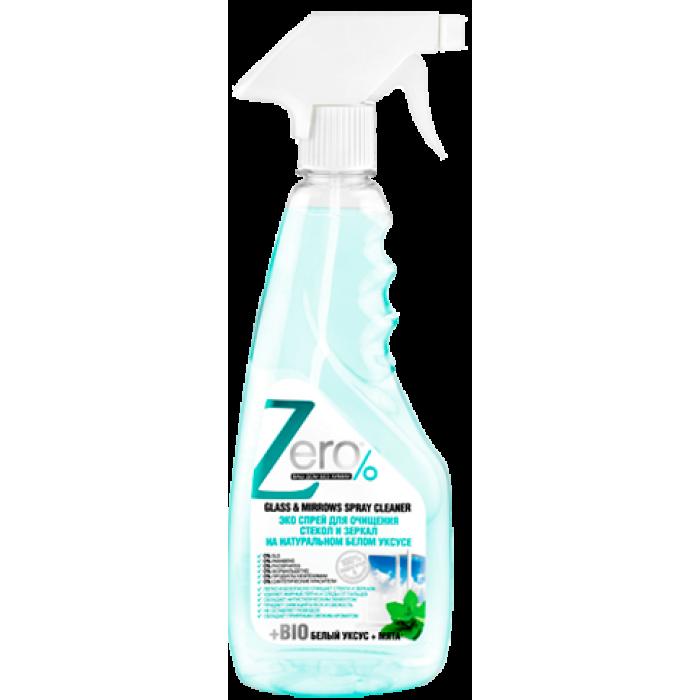 ZERO Спрей для очищения стекол и зеркал на натур.белом уксусе+мята, 420 мл
