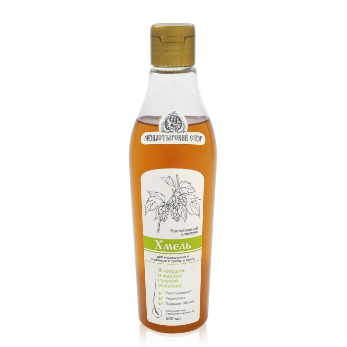 Безсульфатный растительный шампунь «Хмель» для нормальных и склонных к сухости волос, 250 мл