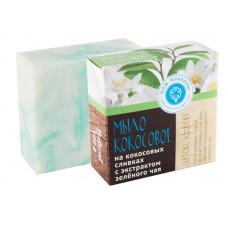 """Натуральное мыло на кокосовых сливках с экстрактом зеленого чая """"Детокс - эффект"""", 100 гр"""
