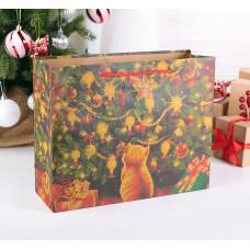 """Крафт пакет """"Котенок в Рождество"""""""