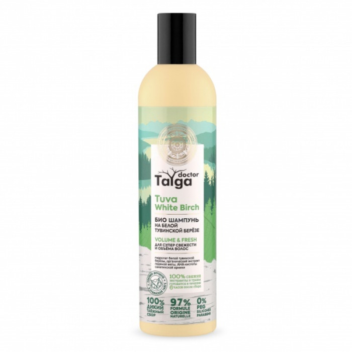 Doctor Taiga Шампунь-био Освежающий для супер свежести и объема волос, 400 мл